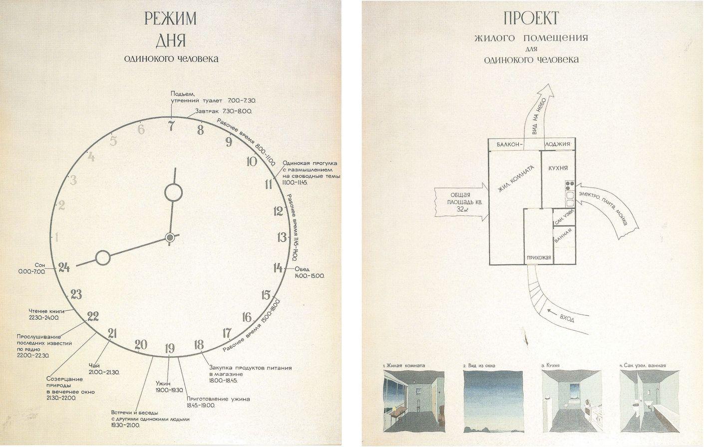 Виктор Пивоваров, «Режим дня одинокого человека» и«Проект жилого помещения для одинокого человека», 1975