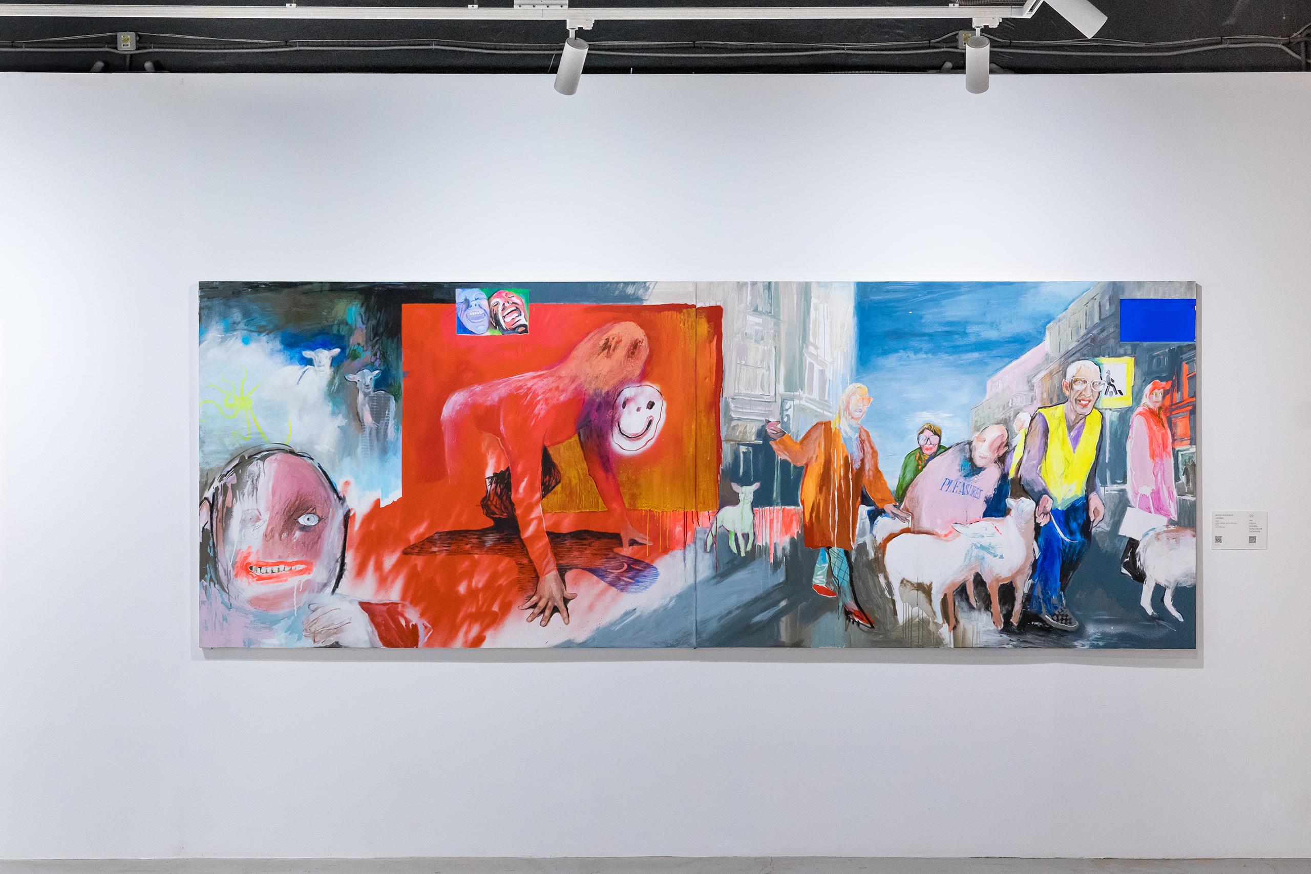 Женя Милюкос, «Агнец», холст, акрил, масло, баллон, уголь, 150×400см, 2020